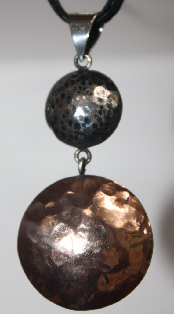 """PENDANT Oxidized Sterling Silver 925 and Copper hand made hand hammered pendant """" Sun and moon""""- very contemporary and cool."""