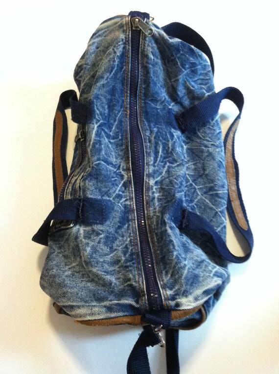 80's ACID WASH DENIM Duffle Bag/Tote/Gym Bag