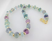 """Blue, Purple, Rose Fluorite Necklace Pastel Shaped Beads with Vermeil Gold  18"""""""