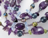 """Amethyst, Peridot and Cloisonné Necklace with Sky and Smoky Blue Beads and Discs and a Gold Clasp   44"""""""