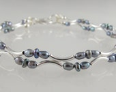 """Gray Freshwater Pearl Bracelet with Sterling Silver Arcs customizable any length up to 8"""" same price"""