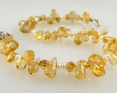 """Citrine Drop and Pearl Bracelet with Sterling Silver Clasp    8"""""""