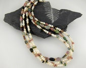 Tourmaline and Pearl Floral Torsade Necklace with Gold Accents and Clasp, 3 strands, 17inches