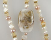 """Baroque Pearl and Citrine Necklace with Glass Bead and Vermeil Gold   18"""""""