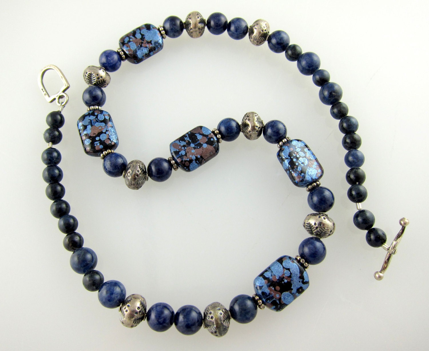 sodalite and japanese bead necklace with by