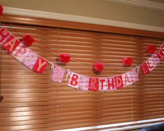 Happy Birthday Banner (felt)- changeable name and number, reusable every year
