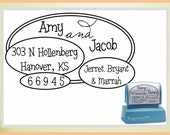Family & Kids Names Oval Return Address Stamp - Self Inking Address Stamp