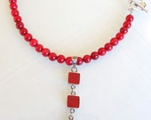 Reserved Silver Sterling Of 925 Necklace- Red Coral Necklace -free shipping-Feminine, Handmade, OOAK, Christmas,