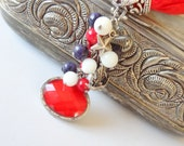 Rezerved Red,Dark Blue,White  Summer Nautical Trend Necklace-4th of July Necklace