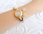 Pink Quartz Bracelet, Gold Bracelet,  Leather Rope Bracelet