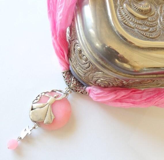 Pink Quartz  Whirling Dervish Semazen Necklace