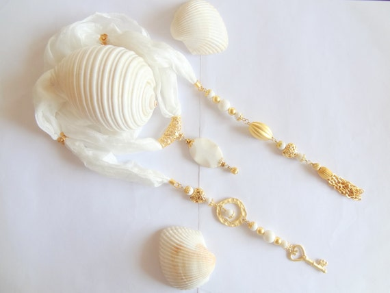 Wedding Jewelry Scarf Necklace-Raw silk, natural white coral stone, gold plated, scarf necklace