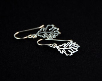 All Sterling Leaf Earrings, contemporary earrings, sterling earrings, oak leaf earrings