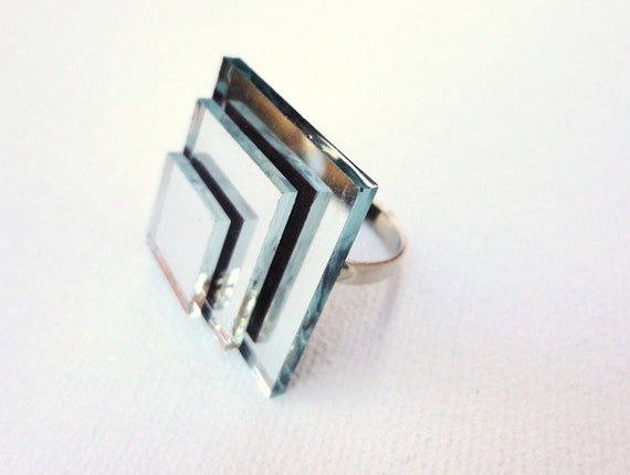 Mirror Ring Stacked Square Statement Ring