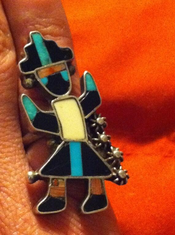 Zuni Rainbow God: Tribal Inlay Ring
