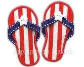 3d real ribbon In-the-Hoop Sandals flip flops Ribbon Patriotic Applique Machine Embroidery Design 4th of July summer INSTANT DOWNLOAD