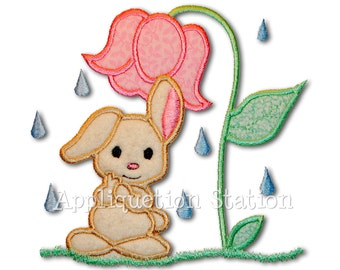 Baby Bunny Shower Applique Machine Embroidery Design Rainy Day Flower Umbrella Easter INSTANT DOWNLOAD