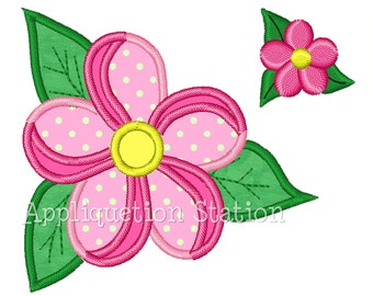 Tropical Flower Two-tone with mini Applique Machine Embroidery Design pink matching mini summer INSTANT DOWNLOAD
