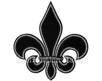 Fleur De Lis Applique Machine Embroidery Design Black White INSTANT DOWNLOAD