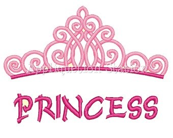Princess Tiara Crown Machine Embroidery Design pink Birthday INSTANT DOWNLOAD