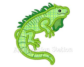 Iguana Lizard Boy Applique Machine Embroidery Design gecko green INSTANT DOWNLOAD
