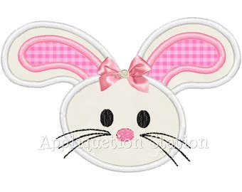 Easter Bunny Head Applique Machine Embroidery Design Baby White Pink Rabbit Face INSTANT DOWNLOAD