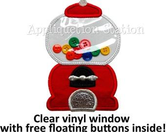 In the Hoop - 3D VINYL Bubblegum Gumball Machine Applique Machine Embroidery Design INSTANT Download