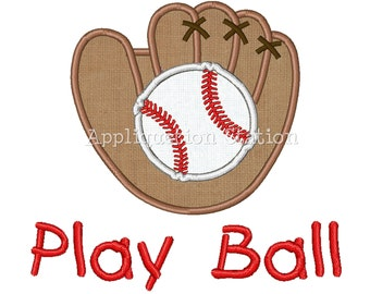 Baseball and Glove Mitt Applique Machine Embroidery Design Boy Sport Play Ball INSTANT DOWNLOAD