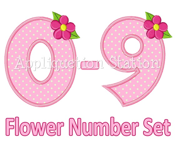 Flower Birthday Number Set Applique Machine Embroidery Design 1st first girl 0,1,2,3,4,5,6,7,8, AND 9 pink INSTANT DOWNLOAD