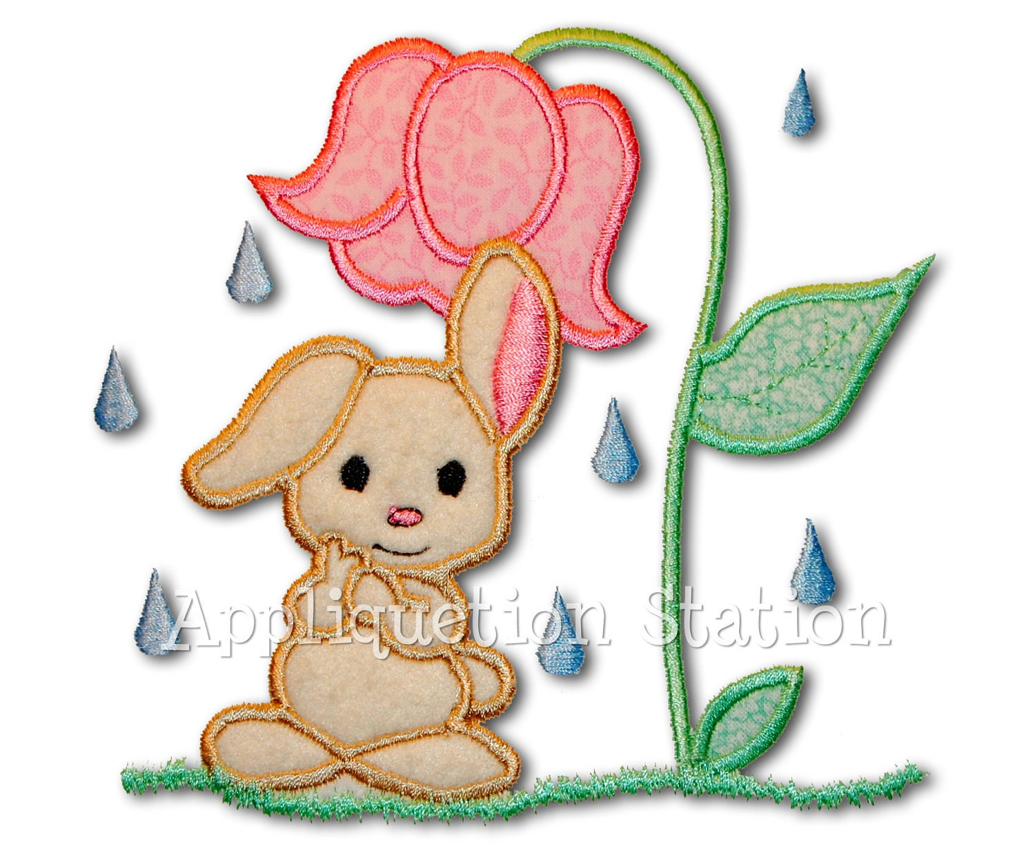 Baby Bunny Shower Applique Machine Embroidery Design Rainy Day