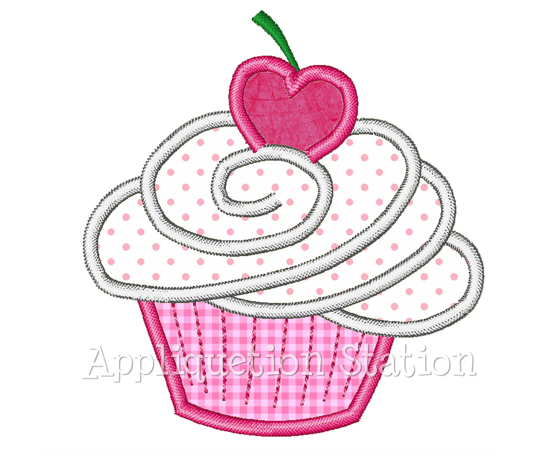 Birthday cupcake muffin heart cherry applique machine
