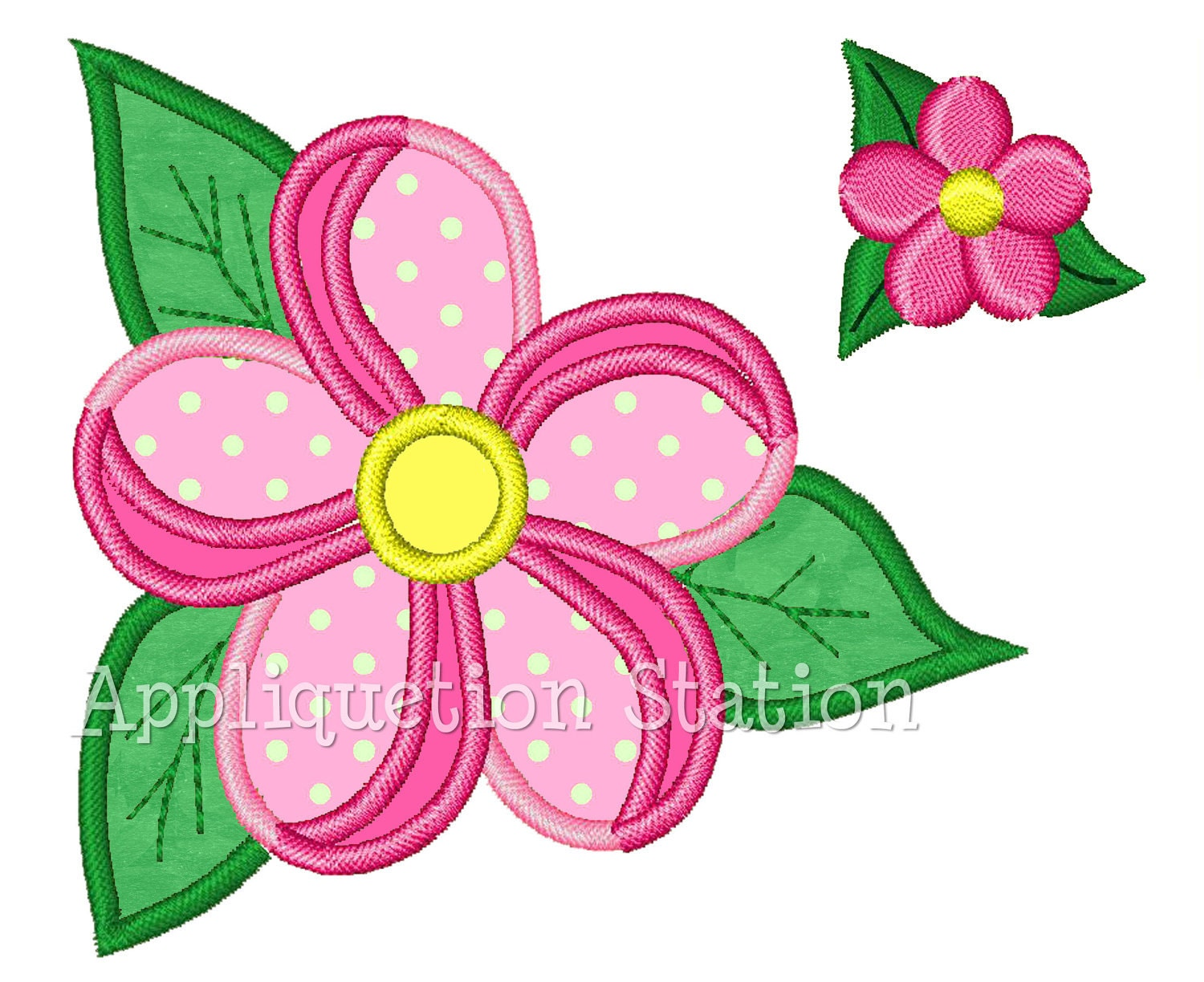 Tropical flower two tone with mini applique machine embroidery