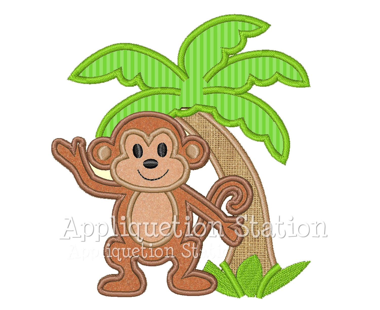 Monkey Palm Tree Tropical Applique Machine Embroidery Design