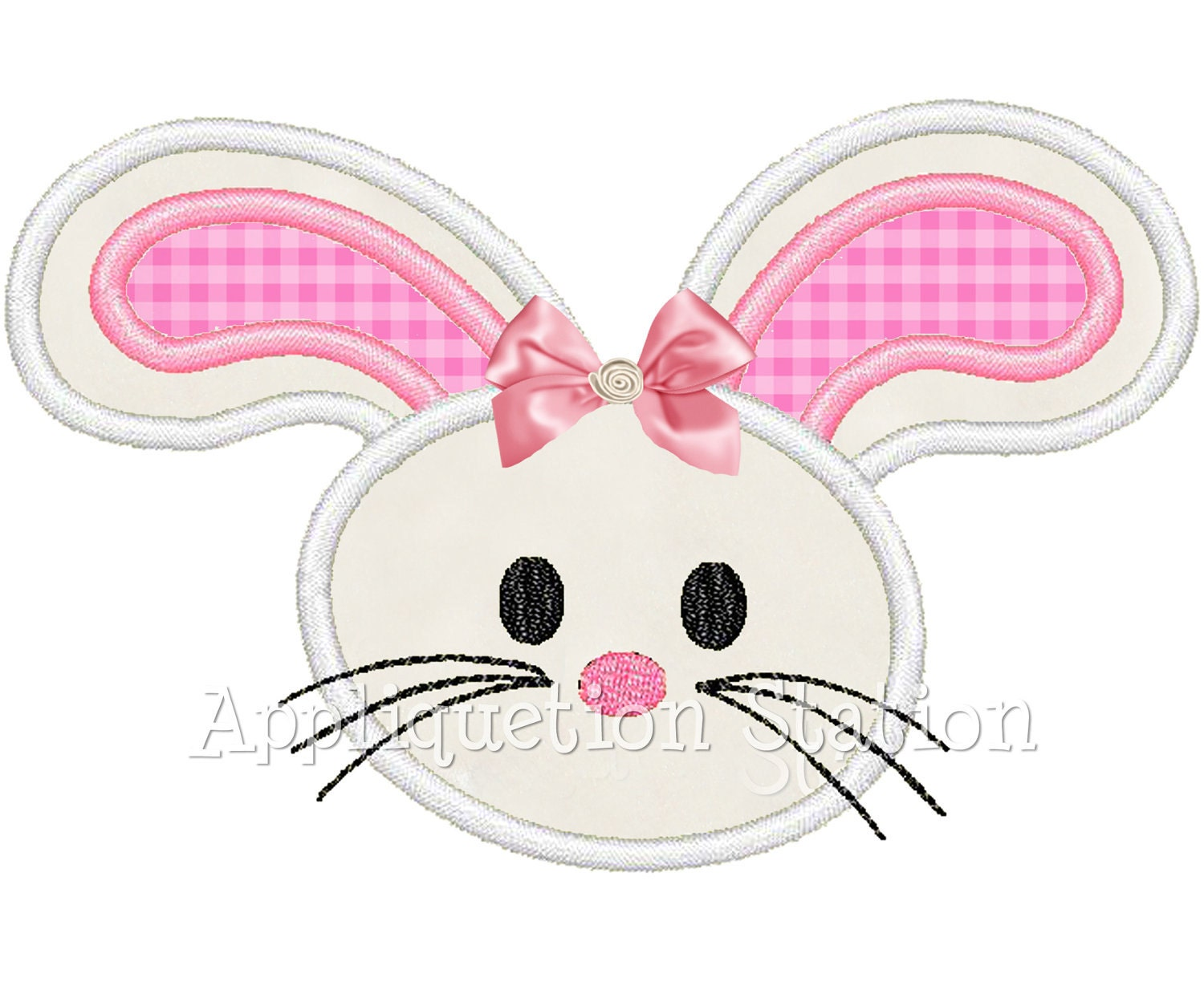 Easter Bunny Head Applique Machine Embroidery Design Baby