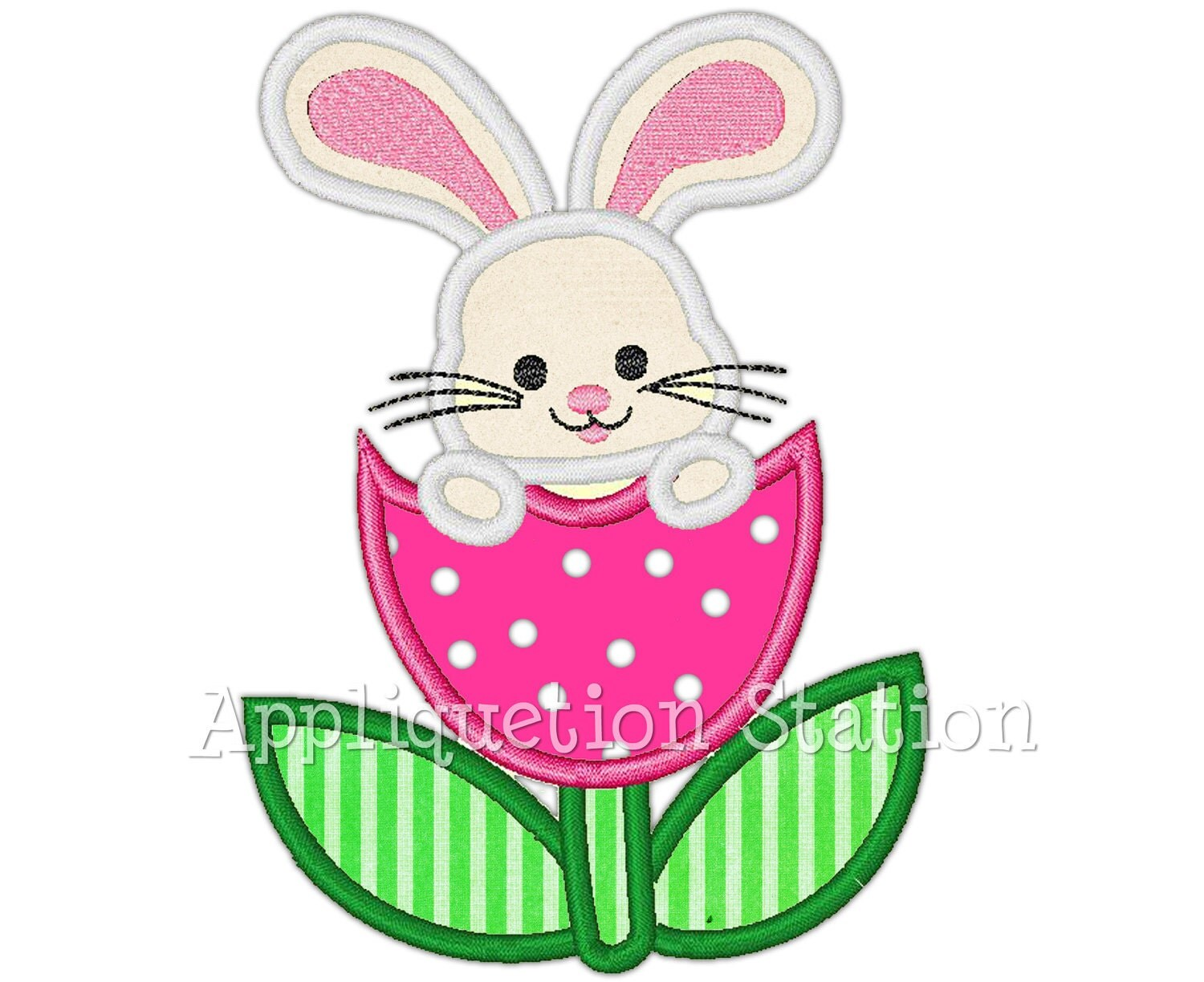 Easter bunny tulip flower applique machine embroidery design