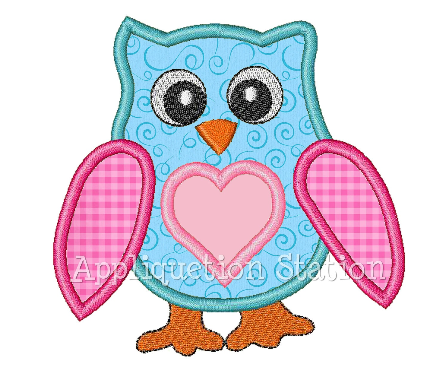 Owl heart applique machine embroidery design girl instant