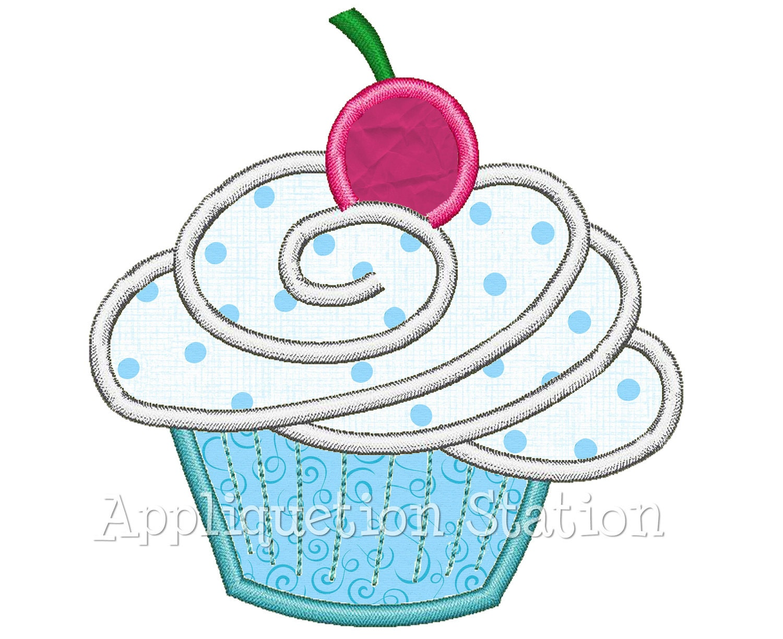 Birthday cupcake cherry applique machine embroidery design
