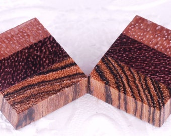 Earrings Burled Maple Purpleheart Bocote