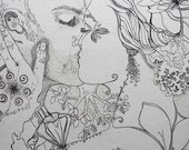 Custom Portrait drawing- Natural Ethereal Illustration Style - Fine Art