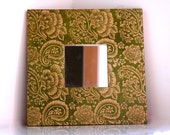 Green and gold decorative mirror