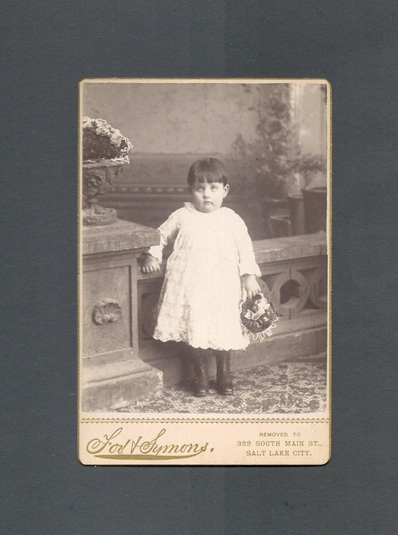 Cabinet Card of an Apprehensive Little Girl
