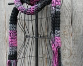10 feet of awesome, black grey and pink yarn Scarf