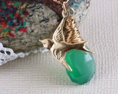 Gold Wire Wrapped Green Onyx Pendant, Gold Swallow Charm Pendant, Green Onyx and Swallow Necklace