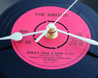 "The Smiths Record Clock. ""Sheila Take A Bow"" from the original 7inch vinyl record. Morrissey fans pink black"