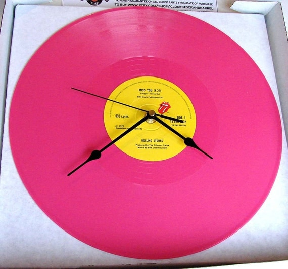 "The Rolling Stones Record CLOCK  from a recycled PINK vinyl 12"" record ""Miss You"". In a box."