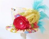 Mini Top Hat Headband, OWL, Alice in Wonderland themed Tea Party, Birthday, Costume, Photo Prop, by Truly Sweet Circus