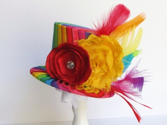 Mini Top Hat Headband, Alice in Wonderland themed Tea Party, RAINBOW, Birthday, Costume, Photo Prop, Gift from Truly Sweet Circus