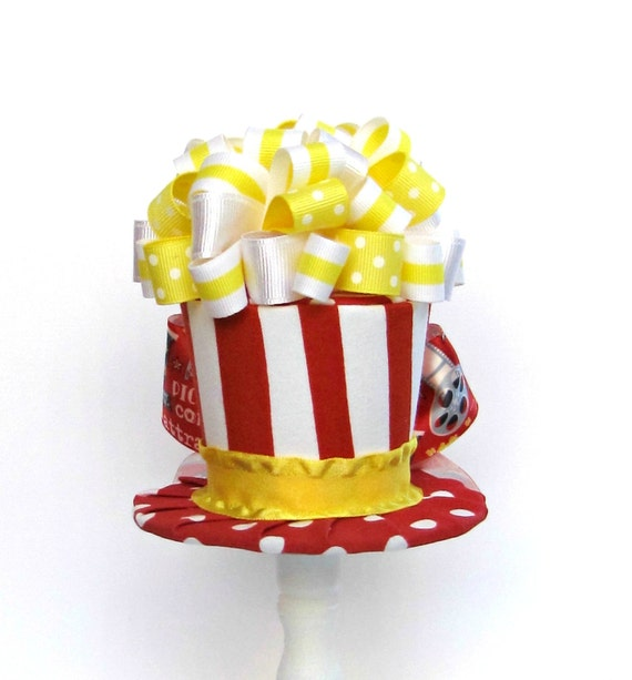 Mini Top Hat Headband, POPCORN, Alice in Wonderland themed Tea Party, Birthday, Costume, Photo Prop, by Truly Sweet Circus