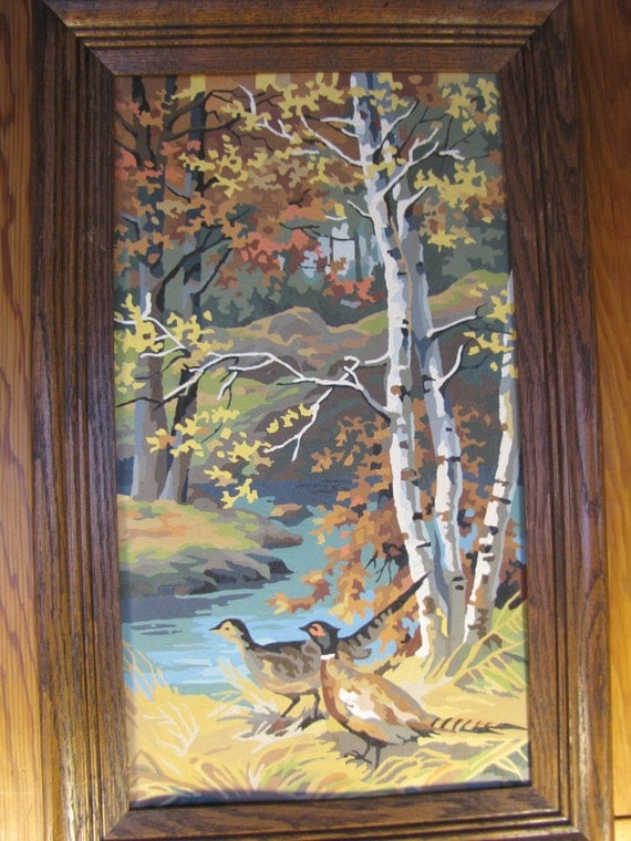 Four Large Vintage Paint by Number Paintings of the Seasons
