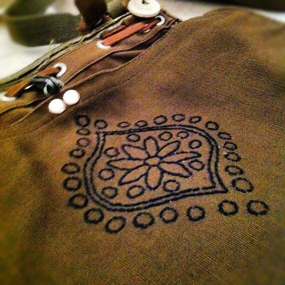 Hand Embroidered Vintage Swiss Army Bag.
